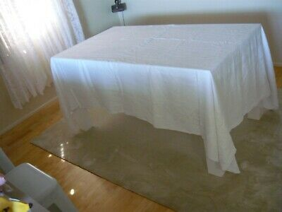 Stunning Xl  Vintage  Cotton Tablecloth   White  258 Cm X 168 Cm In Vgc