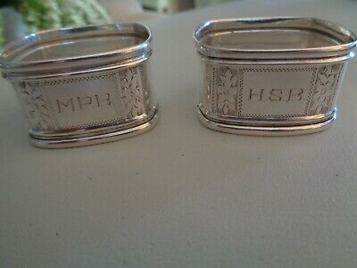 Pair Of Antique Webster Sterling Silver Napkin Rings Holders Square Floral Engra