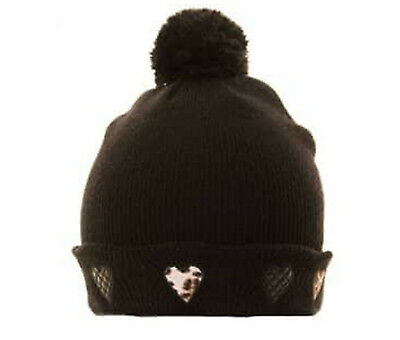 Hat Black Knitted Bobble Ladies Girls Leopard Animal Print Heart Quilted Motif