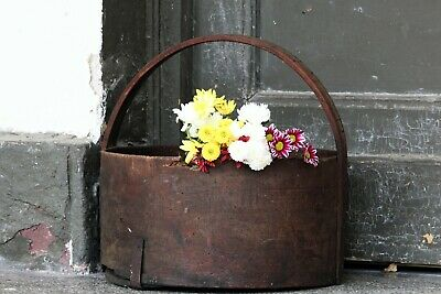 Old Antique Round Bentwood Bowl Primitive Wood Grain Measure Bucket with Handle