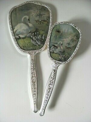 Vintage Swan Brush and Mirror Made in England