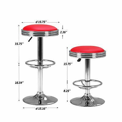 1950's Diner Stool Swivel Bar Counter Padded Seat Retro Leather Chair Red Chrome