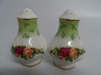 Royal Albert Old Country Roses Green Accent Salt & Pepper Pots
