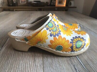 Moheda Toffeln Ladies Flower Colourful Leather Swedish Clogs Mules Sz UK3 EU 36