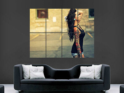 Sexy Hot Girl With Tattoos  Wall Poster Art Picture Print Large