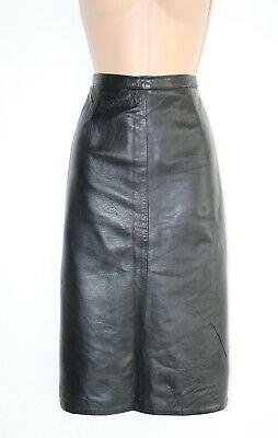 Women's Vintage High Waist Mid Calf Pencil Black 100% Leather Skirt UK10 12 W29""