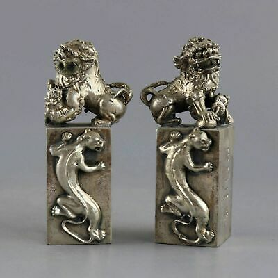 Collect Antique Tibet Silver Carve Moral Bring Lucky Lion Exorcism Seal Statue