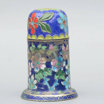 Collectable China Old Cloisonne Hand-Carved Bloomy Flower Unique Toothpick Box