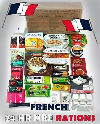MRE French IRP Military Food RCIR 24H MENU Combat Survival Meal France US box