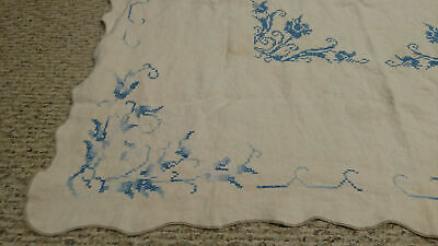 """Vintage Table Topper Cloth 46"""" Square Handmade Embroidered Linen Blue White"""