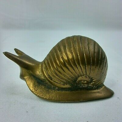 Vintage Brass Snail Statue Figurine Paperweight Collectible B14