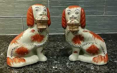 Antique Staffordshire King Charles Spaniels Matching Basket Pair