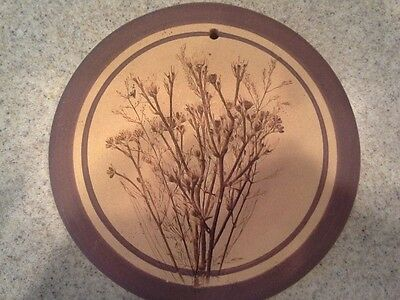 Artist Signed Art Pottery Plaque, Plant/Herb