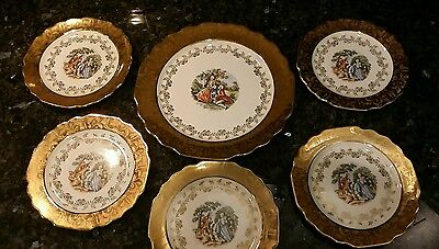 "WS George Lido Atlas China Warranted 22 K Gold Trim- 9.5"" plate + five 7"" plates"