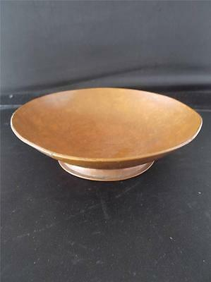 Vtg 1937 COPPER ARTS & CRAFTS SIGNED Hand Beaten Footed Bowl F BLACKBURN HALIFAX