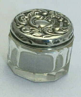Miniature Antique Glass Sterling Silver Dressing Table Jar