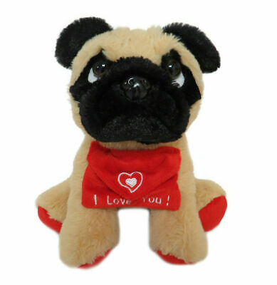 Valentines Day, Soft Teddy Bear With Red Heart  Love You , Pug