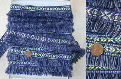 Vtg Hippie Boho Woven Embroidered Cotton Trim w Fringe Indigo Blue Denim 3 Yards