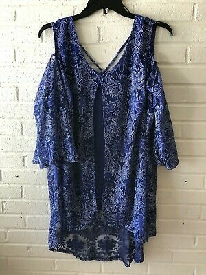 New NY Collection Woman's Cold Shoulder Burnout Shell With Tank   3X  Blue   T7