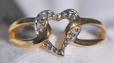 14k Solid Yellow Gold Heart Ring, Round Cut Natural SI1 Diamonds NWT 2.2g Size 6