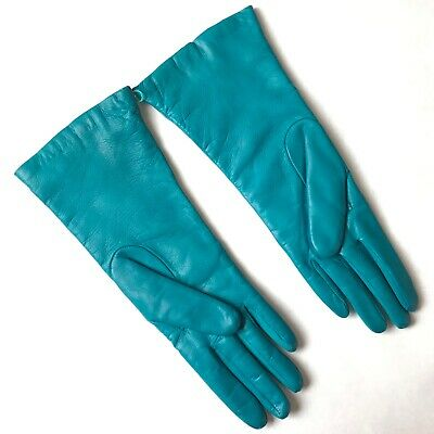 NEIMAN MARCUS Buttery Soft Teal LEATHER GLOVES Cashmere Lined ITALY Size 6