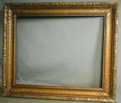 Vintage 1915 Carved Gilt Wood Picture Frame Custom Corner 16x20 Arts Crafts GOLD