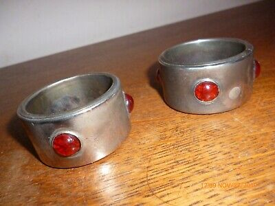Pair Napkin/Serviette Rings Cabochon Type Insets White Metal Rings