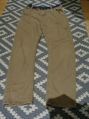 A pair of boys light brown beige smart  trousers 10-12 years HARDLY WORN