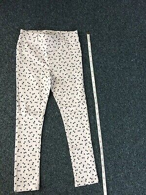 Girls Jegging Style Pale Pink Leggings With Black Bow Pattern. H&M Age 7-8.