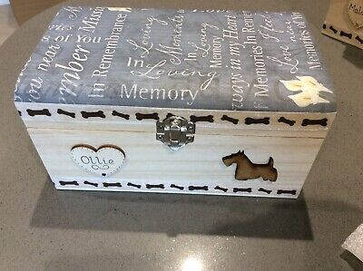 Pet Ashes Wooden Dog Cat Memorial Personalised Memory Box Handcrafted Gift