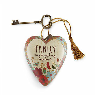 FAMILY MY EVERYTHING Art Heart Sculpture Ornament Key to My Heart Valentine