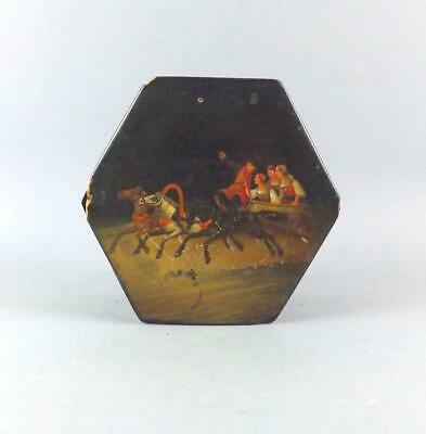 Antique Unusal Russian Lacquered Hand Painted Tea Caddy Box By Vishniakov