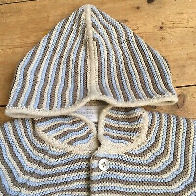 The Little White Company Baby Cardigan 6-9 Months Hooded