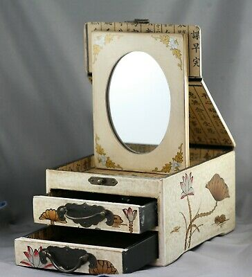 Excellent Vintage Chinese Hand Painted Wood & Lacquer Makeup Box w/Two Drawers