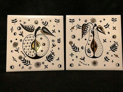 """Georges Briard Vintage MCM Set of 2 Forbidden Fruit 6"""" Square Hanging Wall Decor"""