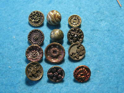 Antique Buttons: Lot of 12 Small Tinted buttons