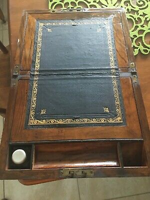 Antique Victorian Slope Writing Box with ink bottle