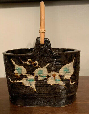 Studio Art Pottery Pot Planter Bamboo Handle Black White Aqua Leaves Splatter