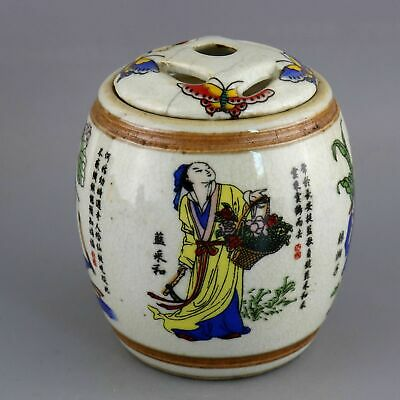 Collect Qianlong Old Porcelain Painting 8 Immortals & Butterfly Exquisite Censer