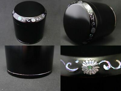 Japanese Lacquer Wooden Natsume Stylish tea caddy Mother-of-pearl inlay (1218)