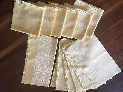 Set of 13 Vintage Retro Lemon Linen Placemats Napkins Runner Table Ware Exc