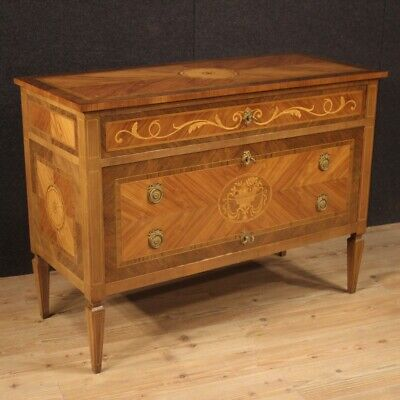 Commode dresser furniture inlaid wood Louis XVI antique style chest of drawers