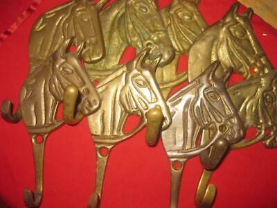 Solid Brass Horse Head Equestrian Stallion Wall Coat Hook 8 rare FIND FULL SET