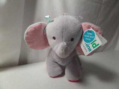 Child Of Mine By Carters Pink Gray Wind Up Musical and Moves Plush Toy Elephant