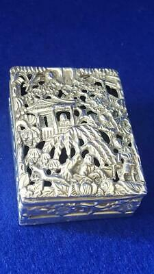 1890s Chinese Export Sterling Silver Cricket Box Ldn Foreign Import H/marks 56g