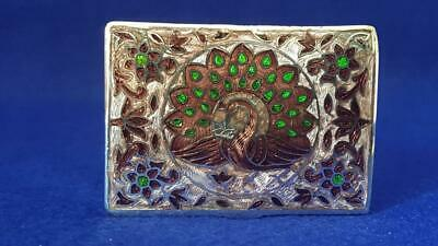 Beautiful Early C20th Persian Enamelled Sterling Silver Pill Box w Peacock 33g