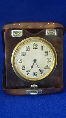 Super Antique H/marked 1907 Sterling Silver Natural Shell Cased Travel Clock
