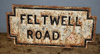 """Large Reclaimed Cast Iron Victorian Antique Street Sign """" Feltwell Road """"Rare #1"""