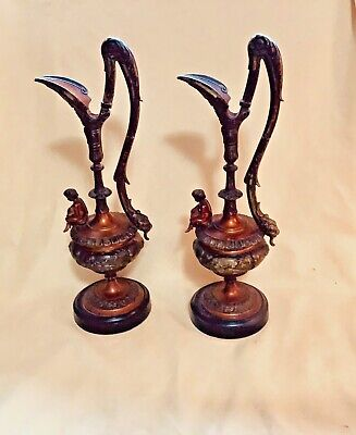 Antique French Mantle Ewers  Spelter Very Good Condition