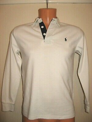 Worn Once Boys White Ralph Lauren Long Sleeve Rugby Polo T-Shirt Top Age 10-12